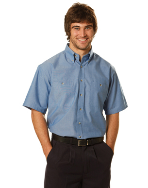 Picture of Winning Spirit - BS03S - Men's Wrinkle Free Short Sleeve Chambray Shirts