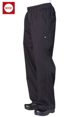Picture of Chef Works - BBLW - Black Lightweight Basic Baggy Pants