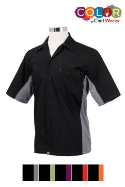 Picture of Chef Works - CSMC-BKL - Men's BlackLime Universal Contrast Cook Shirt