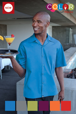 Picture of Chef Works - CSMV-BLU - Men's Blue Universal Contrast Cook Shirt