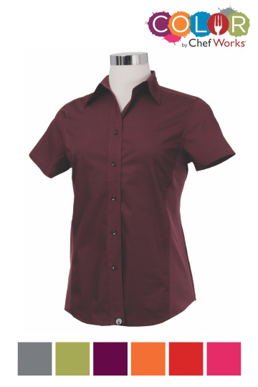 Picture of Chef Works - CSWV-ORA - Female Orange Universal Contrast Shirt