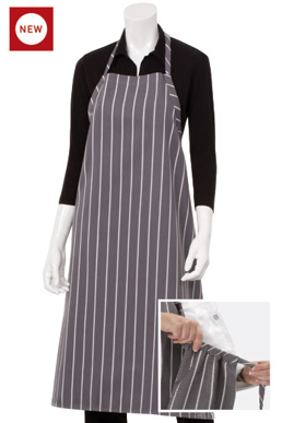 Picture of Chef Works - A100-NCS - Navy Chalkstripe Adjustable English Chefs Apron NP