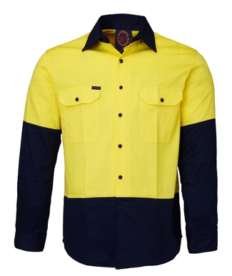 Picture of Ritemate Workwear-RM1050-Open Front 2 Tone L/S Shirts