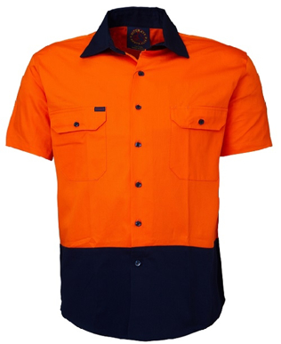 Picture of Ritemate Workwear-RM1050S-Open Front 2 Tone S/S Shirt