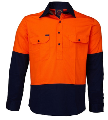 Picture of Ritemate Workwear-RM105CF -Closed Front 2 Tone L/S Shirt