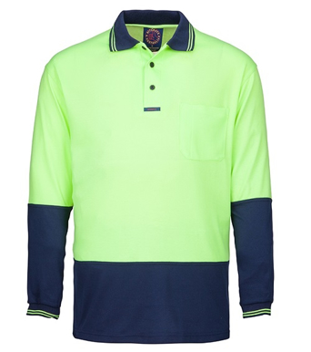 Picture of Ritemate Workwear-RM2346-Hi Viz Polo Long Sleeve Shirts