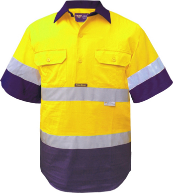 Picture of Prime Mover-MC102-Hi Vis Cotton Drill Shirt
