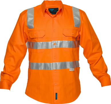 Picture of Prime Mover-MS191-Hi Vis Cotton Drill Shirt