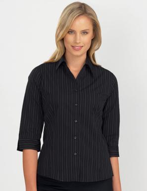 Picture of John Kevin Uniforms-106 Black-Womens 3/4 Sleeve Fine Stripe