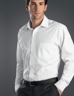 Picture of John Kevin Uniforms-208 Grey-Mens Long Sleeve Classic Stripe