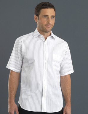 Picture of John Kevin Uniforms-209 Grey-Men's Short Sleeve Classic Stripe