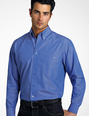 Picture of John Kevin Uniforms-264 Indigo-Mens Long Sleeve Chambray