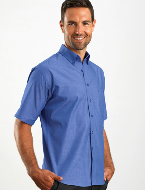 Picture of John Kevin Uniforms-265 Indigo-Mens Short Sleeve Chambray