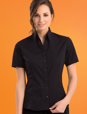 Picture of John Kevin Uniforms-503 Black-Womens Stretch Slim Fit Short Sleeve Poplin