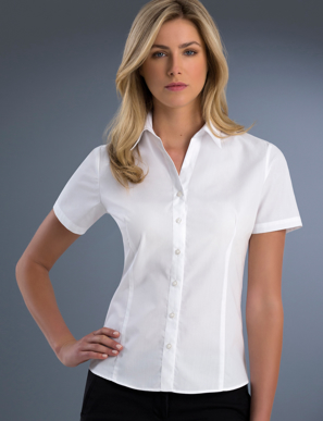 Picture of John Kevin Uniforms-701 White-Womens Slim Fit Short Sleeve Poplin