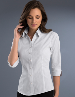 Picture of John Kevin Uniforms-724 Grey-Womens Slim Fit 3/4 Sleeve Mini Check