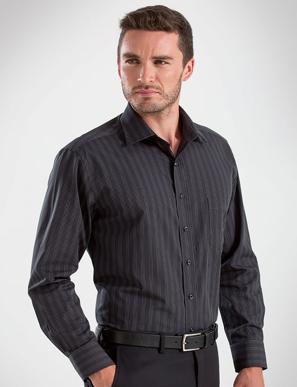 Picture of John Kevin Uniforms-452 Black-Mens Long Sleeve Dark Stripe