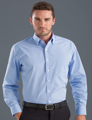 Picture of John Kevin Uniforms-454 Blue-Mens Long Sleeve Multi Check