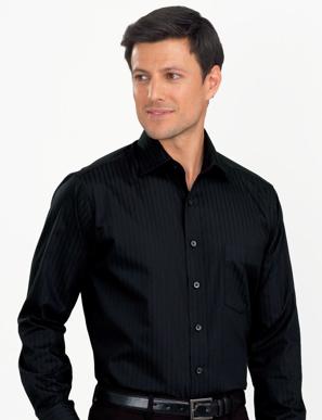 Picture of John Kevin Uniforms-460 Black- Mens Long Sleeve Self-Stripe