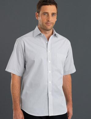 Picture of John Kevin Uniforms-467 Steel-Mens Short Sleeve Herringbone Stripe