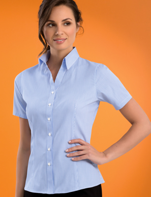 Picture of John Kevin Uniforms-522 Sky-Womens Stretch Slim Fit Short Sleeve Bengal Stripe