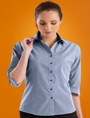 Picture of John Kevin Uniforms-534 Navy-Womens Stretch Slim Fit 3/4 Sleeve Micro Check