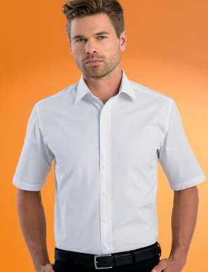 Picture of John Kevin Uniforms-601 White-Mens Stretch Slim Fit Short Sleeve Poplin