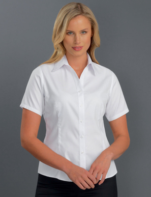 Picture of John Kevin Uniforms-302 White- Womens Short Sleeve Pinpoint Oxford