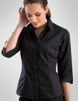 Picture of John Kevin Uniforms-360 Black- Womens 3/4 Sleeve Self-Stripe