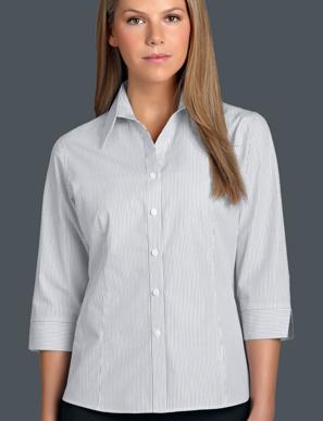 Picture of John Kevin Uniforms-366 Steel-Womens 3/4 Sleeve Herringbone Stripe