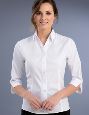 Picture of John Kevin Uniforms-740 White- Womens Slim Fit 3/4 Sleeve Pinpoint Oxford