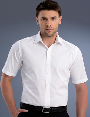 Picture of John Kevin Uniforms-801 White-Mens Slim Fit Short Sleeve Poplin