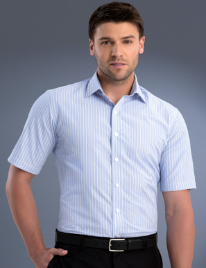Picture of John Kevin Uniforms-819 Blue-Mens Slim Fit Short Sleeve Pinfeather