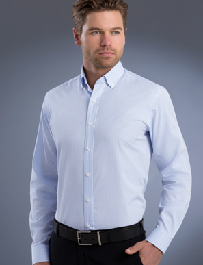 Picture of John Kevin Uniforms-824 Blue-Mens Slim Fit Long Sleeve Mini Check