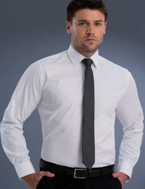 Picture of John Kevin Uniforms-840 White-Mens Slim Fit Long Sleeve Pinpoint Oxford