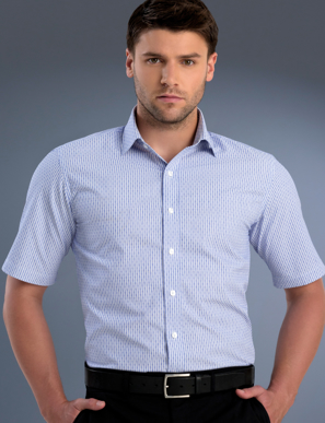 Picture of John Kevin Uniforms-871 Blue-Mens Slim Fit Short Sleeve Dobby Stripe