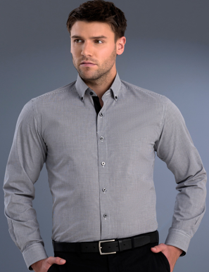 Picture of John Kevin Uniforms-872 Black-Mens Slim Fit Long Sleeve Small Check