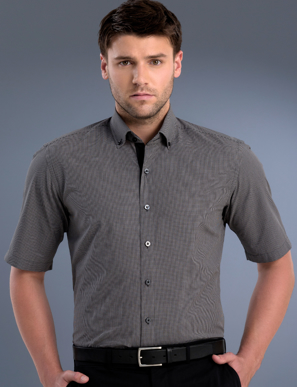 Picture of John Kevin Uniforms-875 Charcoal-Mens Slim Fit Short Sleeve Small Check