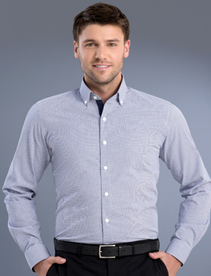 Picture of John Kevin Uniforms-876 Navy-Mens Slim Fit Long Sleeve Square Check