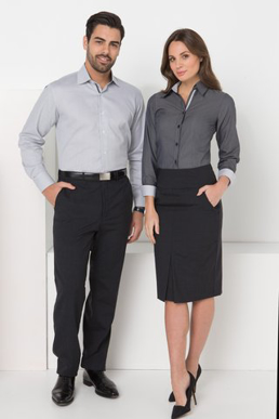 Picture of LSJ collection-244L-NW-Ladies Long sleeve fold up cuff semi fitted shirt with contrast inner collar & cuff