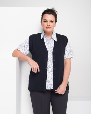 Picture of LSJ collection-WBV2-Ladies Long line easy fit button up vest