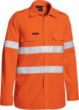 Picture of Bisley Workwear-BS8238T-Tencate Tecasafe® Plus 480 Taped Hi Vis Lightweight Fr Vented Shirt Long Sleeve