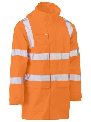 Picture of Bisley Workwear-BJ6964T-Taped Hi Vis Rail Wet Weather Jacket