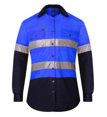 Picture of Ritemate Workwear-RM107V2R-Vented Open Front Light Weight L/S Shirt with 3M 8910 Reflective Tape Shirts