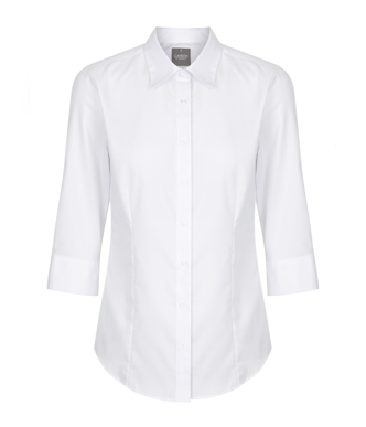 Picture of Gloweave-1069WL_WHITE-WOMEN'S HERRINGBONE LONG SLEEVE SHIRT-WESTWOOD