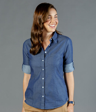 Picture of Gloweave-1714WHL-WOMEN'S DENIM DOBBY SHIRT - WELLINGTON