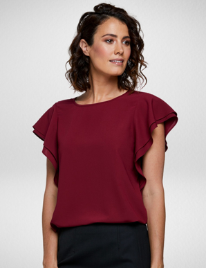 Picture of Corporate Reflection-6100F70-Amity Ladies Semi Fit, Double Flutter Sleeve Blouse