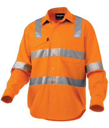 Picture of King Gee-K54895-Workcool 2 Reflective Shirt L/S Cross Pattern