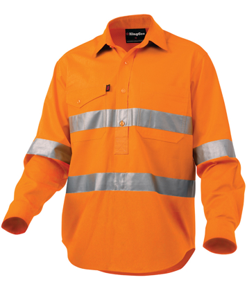 Picture of King Gee-K54896-Workcool 2 Reflective Closed Front Shirt L/S