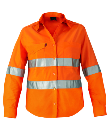 Picture of King Gee-K44545-Workcool 2 Women's Reflective Shirt L/S